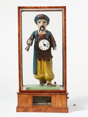 A German wooden animated clock figure, circa 1840.