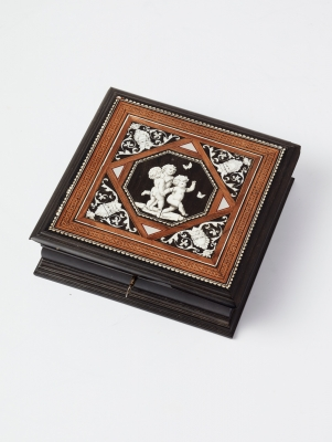 A probably French ebonised ivory inlaid box, circa 1880