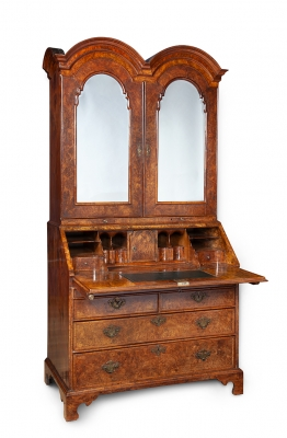 A Walnut double domed bureau bookcase