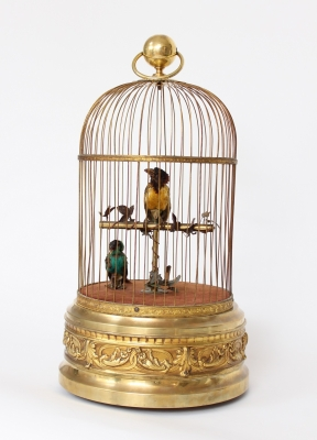 A French gilt brass bird cage automaton, circa 1900