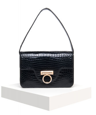 Gucci Vintage Black Crocodile Skin Shoulder Bag - Gucci