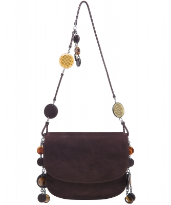 Bottega Veneta Brown Suede Charm Messenger Bag - Bottega Veneta