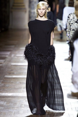 Fall 2013 Dries Van Noten Runway Ostrich Feather Trim Top
