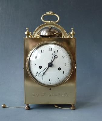Pendule d'officier, signed Courvoisier, La Chaux-de-Fonds, Switzerland circa 1800.