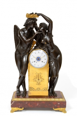An important French 'Amor and Psyche' mantel clock, design by Claude Michallon, circa 1800