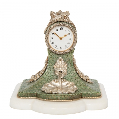 A miniature Swiss silver and shagreen table timepiece, circa 1900