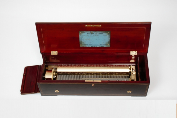 A Swiss rosewood inlaid cylinder music box by Nicole Freres with Mozart airs, 1860
