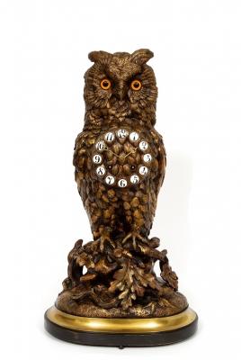 A rare French patinated bronze 'owl' mantel clock, circa 1880