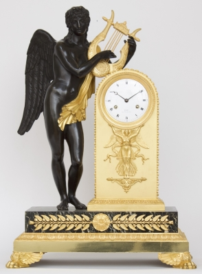 A fine French Empire ormolu and bronze mantel clock by bronzier Claude Galle, circa 1810