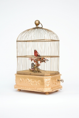 A French gilt 'singing bird automaton' birdcage, Bontems, circa 1880