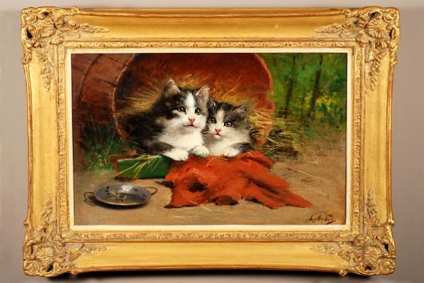 'Een poes en een kitten' (olie op doek) door Léon-Charles Huber (1858-1928), omstreeks 1880