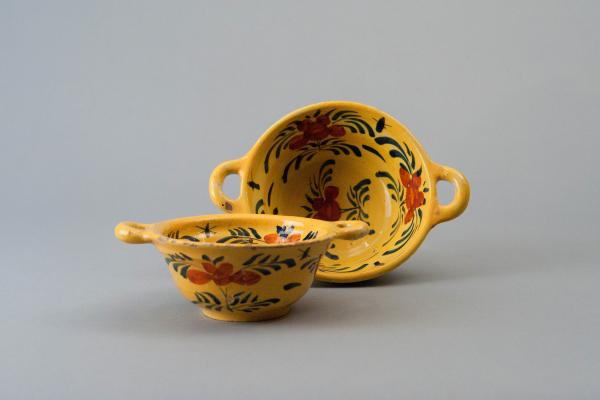 Two Dutch Delft Porridge-Bowls