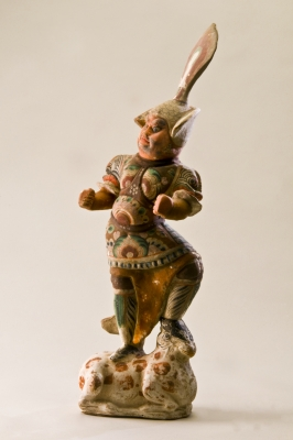 Brightly coloured Tang pottery guardian 'Lokapala'