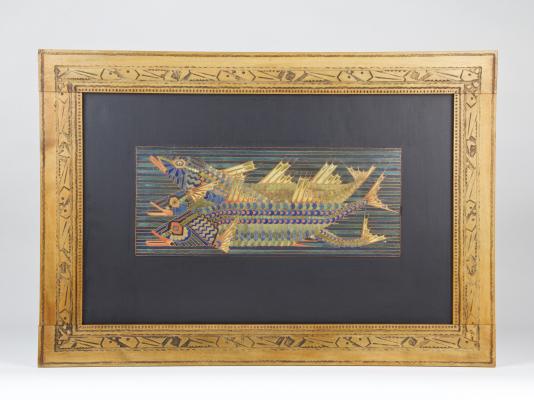 Marie Kuyken, Cloisonnépaneel (#17, Rhytme), met voorstelling van drie vissen in houten lijst, uitvoering firma Kuyken, Haarlem, 1918 - Marie Kuyken