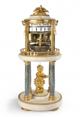 An attractive French Louis XVI ormolu and marble 'cercles tournants' mantel clock, by Barancourt, circa 1780