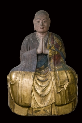 Seated wooden Japanese Monk