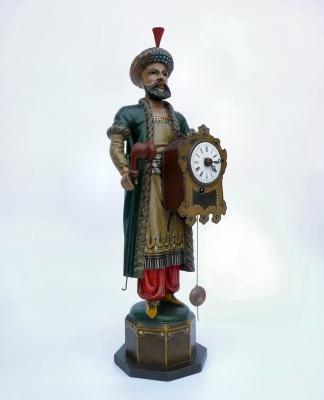 Schnappuhr. Turk met klok en pijp. Zwarte Woud Ca. 1840.
