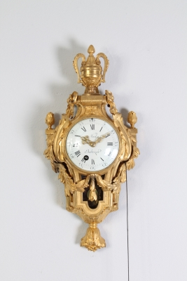 A rare small French Louis XVI ormolu 'cartel d'alcove' with pull quarter repeat, by N. Balthazar, circa 1770