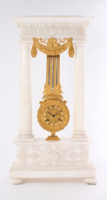 An attractive French alabaster and ormolu portico mantel clock with oscillating movement, circa 1830