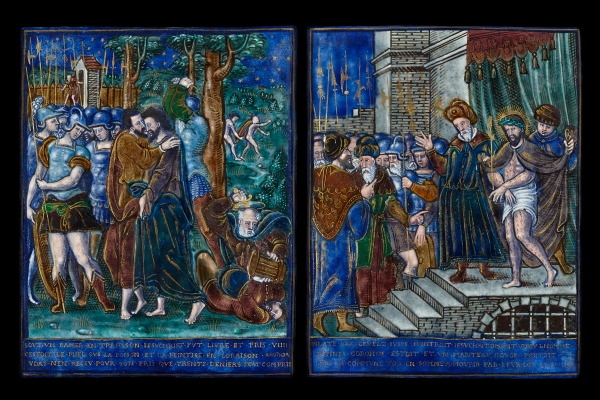 Pair of Limoges Enamel plaques with The Betrayal of Christ and Ecce Homo  Attributed to Jean I Reymond