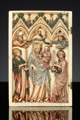 Leaf from a diptych with the Glorification of the Virgin  French, Paris, circa 1325–1350