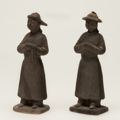 Two Chinese grey pottery attendants
