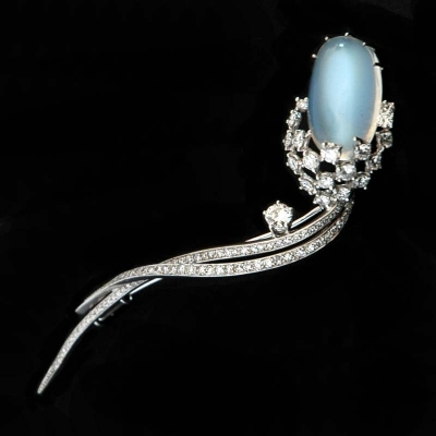 Moonstone & diamond brooch