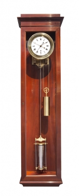 An attractive French mahogany wall regulator of month duration, attr. to Rodanet circa 1840.
