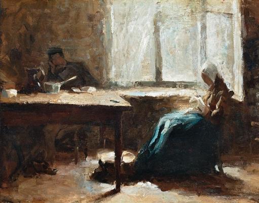 Interieur met man en vrouw aan tafel - Jan Toorop