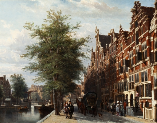 View of the Singel in summer with the Mennonite church Het Lam, Amsterdam - Cornelis Springer
