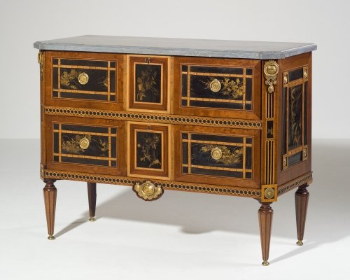A Dutch Louis Seize Suite of One Commode and Four Matching Corner Cabinets