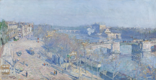 A view of the Amstel, Amsterdam, with the Amstelbrug and the Amstel Hotel in the distance, seen from the artist's studio
