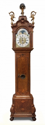 A Dutch Amsterdam burr walnut musical longcase clock, by Gerrit Storm, circa 1735