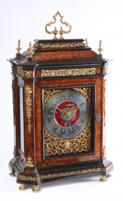 A Swiss mulberry ormolu mounted quarter repeating alarm table timepiece, J. Robert, circa 1700.