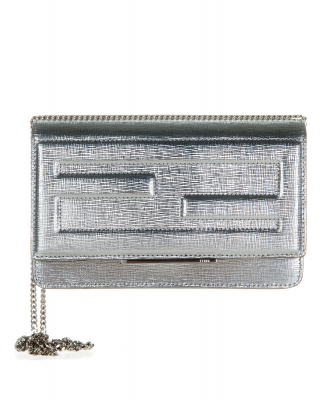Fendi Tube Wallet On Chain in Silver Leather