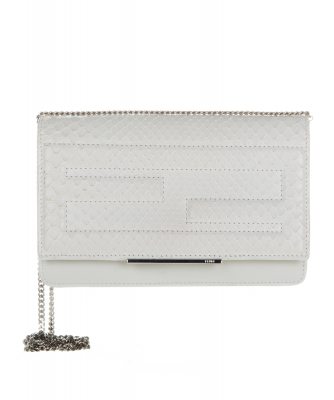 Fendi Tube Wallet on Chain In White Python Leather - Fendi