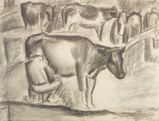 Leo Gestel, 'Beemster', houtskool op papier, 1922 - Leo Gestel