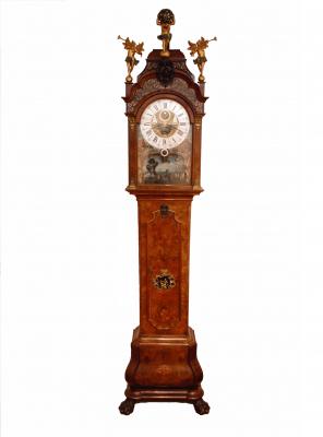 A fine Dutch burr walnut 'Amsterdam' longcase clock with ships automaton, du Chesne, circa 1760