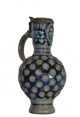 German jug with pewter lid, Westerwald, about 1700.