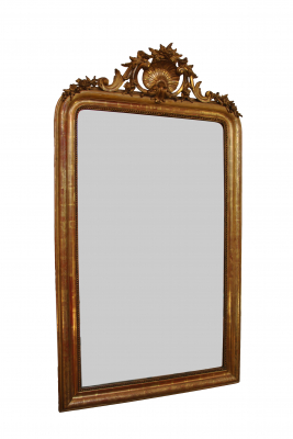 French mirror with crown, partly giltwood, about 1865.