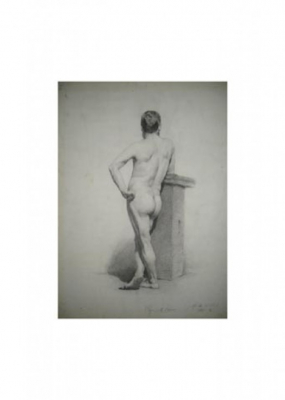 Marius Bauer: study drawing made at the The Hague art academy