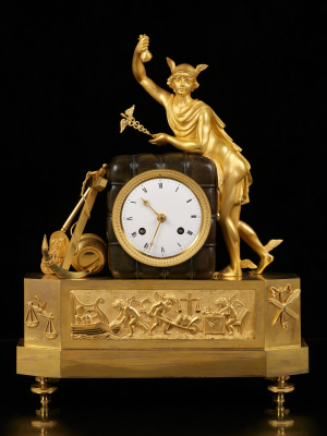 French Empire Mantel Clock with Mercury