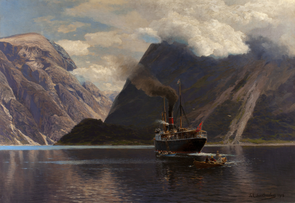Dampfer im Naerofjord