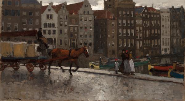 On the Nieuwe Brug with the Damrak beyond, Amsterdam - George Hendrik Breitner