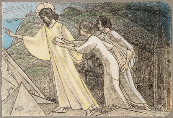 Christus de zielen leidende langs de scherpe rotsen - Jan Toorop
