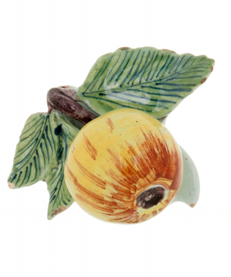 A Model of a Fruit in Polychrome Dutch Delft Earthenware