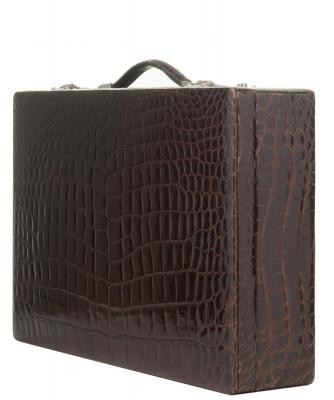 Vintage Brown Crocodile Skin Jewelry Travel Case - Designer Unknown