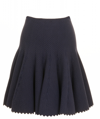 Alaïa Navy Blue Jacquard Wool Flared Skirt - Azzedine Alaïa