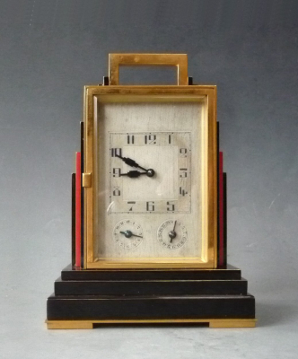 A Swiss Art Deco carriage clock, grande sonnerie, alarm and date, ca 1920.