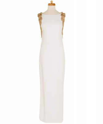 Marchesa Gold-tone Embroidery Ivory GownMarchesa Embroidered Gown - Marchesa